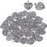 BronaGrand - Confezione da 50ciondoli a forma di cuore, accessori ideali per la realizzazione di collane, braccialetti e gioielli fai da te, colore: argento