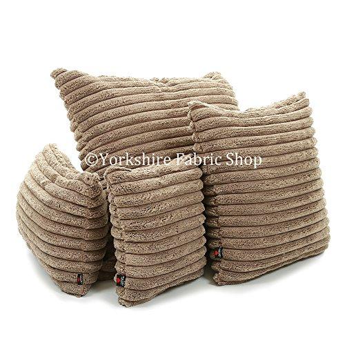 Mokka Cord (British handgefertigt Weich Strukturierte Super Soft Jumbo Cord Material Stoff Kissenhülle mit Füllung Einsatz, mokka, Large Size - 55cm x 55cm - 22