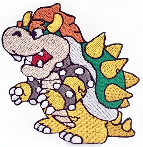 Kostüm Brothers Mario Toad - Premier Patches Bowser Patch Embroidered Iron on Badge Aufnäher Kostüm Cosplay Mario Kart/SNES/Mario World/Super Mario Brothers/Mario Allstars