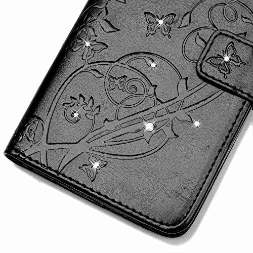 Wkae Case Cover Schmetterling und Blume Prägung Premium PU-Leder Tasche Cover Magnetischen Flip Wallet Stand Case Folio Stand Case mit Bling Diamond Resine Rhinestone Dekor für HUWEI Y625 ( Color : Pi Black