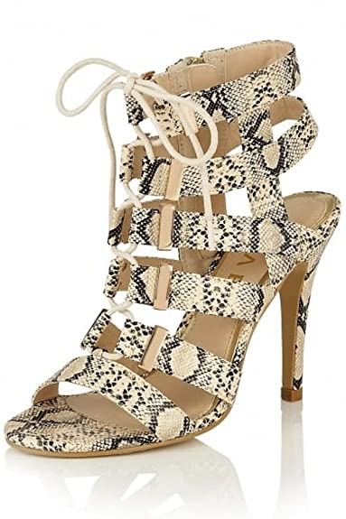 b89938a9185 RAVEL - Omak Nude Snake Print Strappy Lace Up Stiletto High Heel Sandals  Leather Lined Gladiators Shoes  Amazon.co.uk  Shoes   Bags