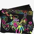HKFV 10 Blätter Magic Scratch Art Malerei Papier mit Zeichnung Stick Kinder Spielzeug 16K, Perfet Spielzeug für Kinder Erstellen Sie bunte Kunst von 456