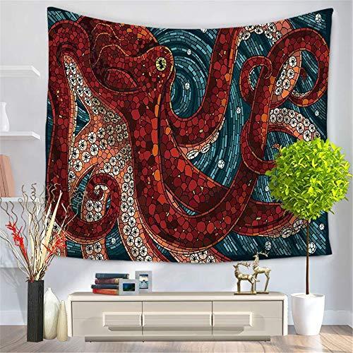 LOVEHOUGE Wandbehang Wandbehang 3D Vision Octopus Clear Bild Wandbehang Sandy Beach Blanket Reise Schlafsack, für Kinder Mädchen Jungen Zimmer Schlafzimmer Wohnzimmer Dekoration,A1,59.1