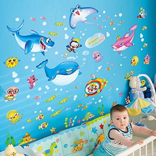 Preisvergleich Produktbild Japace® Unter dem Meer Cartoon Niedlich Fisch Wandtattoo Aufkleber für Nursery Kinderzimmer Schlafzimmer Wohnzimmer Dekoration