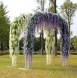 YQing Kunstblumen, künstliche Glyzinien, Heimdekoration, jeder Strang ist 110 cm lang, aus Seide, für Hochzeiten, zu Hause, Garten, Party, 12 Stück (weiß) - 7