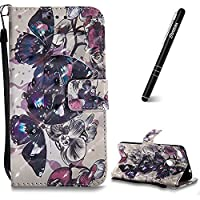 Huawei P8 Mini 2017 Case, Huawei P8 Mini 2017 Leather Case Wallet, Slynmax 3D Printing Black Butterfly Design Flip Folio PU Leather Wallet Case Inner Soft TPU Cover with Stand Function Hand Strap Card Holders Magnetic Closure Ultra Thin Book Style Shock R