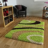 Helsinki Cheap Funky Lime Green, Brown & Beige Non Shedding Shaggy Rug 1888 - 4 Sizes Available