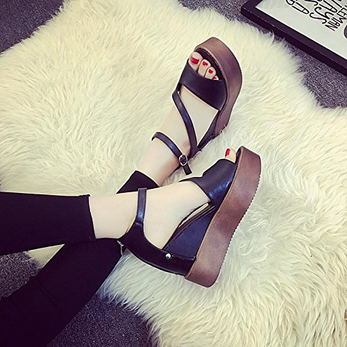 LvYuan Sandali estivi delle donne / Comfort Casual Fashion / Peep-toe Hollow / fondo spessa / cuneo talloni / flatform scarpe Black