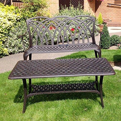 Lazy Susan – CLAIRE Rechteckiger Garten Beistelltisch mit 1 APRIL Gartenbank und 2 APRIL Stühlen – Gartenmöbel Set aus Metall, Antik Bronze - 2