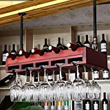 HT BEI Festes Holz Kirsche Rot/Kastanie/Schwarz Nussbaum/Naturholz/Bronze Suspension Teleskop Boom 5 Farben erhältlich für die Meisten Becher 80cm: 6 Flaschen für Wein 18 Tassen |