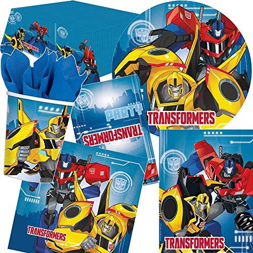 Amscan/Carpeta 105 pièces Set de fête Transformers avec Assiettes, gobelets, Serviettes et Invitations etc. Optimus Prime Bumblebee Motto Anniversaire d'enfant