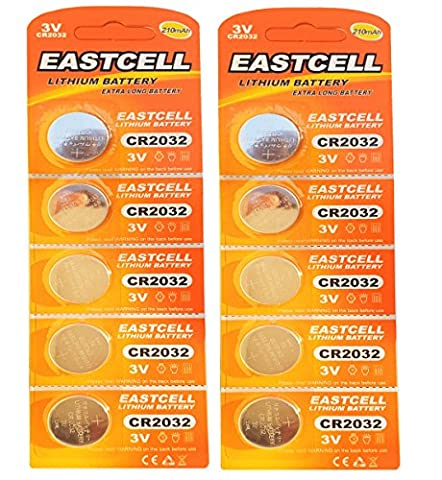 10 x CR2032 3V Lithium Knopfzelle 210 mAh ( 2 Blistercards a 5 Batterien ) Markenware EASTCELL