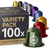 Proefpakket: 100 Nespresso-compatibele capsules. Biologische / Fairtrade Nespresso-capsules. 9 verschillende smaken.
