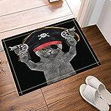 CUIMEISHEN Tier-Dekor-Katze in Einem Piraten-Kostüm für Kinder Badteppiche Rutschfeste Bodeneingänge Outdoor Indoor Haustür Matte, 60x40cm Badematte