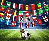 SueH Design Fußball WM 2018 Stoff Fahnenkette Alle 32 Teilnehmerländer für Innen-und Außenbereich - 10,5m Flaggen Fahnen Banner für Garten Bar Sportvereine Festivals Restaurants