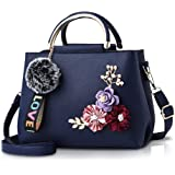 NICOLE & DORIS Damen Leder Handtasche Umhängetaschen mit Blume Jahrgang Griff Tasche Designer Tote Geldbörse mit Pom Pom