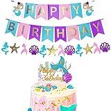 Cupcake Topper Sirena,Decoracion de Sirenas Cumpleaños,Pancarta de Feliz Cumpleaños,Sirena Decoracion Fiesta,Sirena Fiesta Cu
