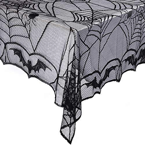 eZAKKA Tischdecke für Halloween, Spinnennetz, rechteckig, 121,9 x 243,6 cm, Polyester, gruselige Fledermaus-Spitze, Tischdecke für Gothic, Halloween, Party, Heimdekorationen (Zu Halloween Kulisse Leicht Machen)