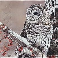 "SNOW OWL BEIGE RED WHITE 13"" x 13"" 33CM X 33CM 20 X 3 PLY PAPER NAPKINS"