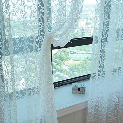 Tenda in voile di tulle per finestra, tinta unita trasparente con motivo floreale, con pesi alla base, per camera da letto/soggiorno, rosa, white, 200cm x 100 cm