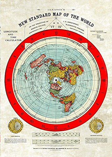 Flache Erde Karte -Flat Earth Map - Gleason's New Standard Map of The World - Large A0 46.8