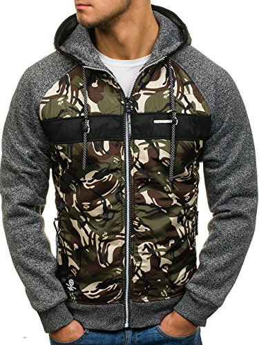BOLF Herren Übergangsjacke mit Reißverschluss Camo Army Motiv P&L Fashion HH507 Dunkelgrau XXL [1A1]  