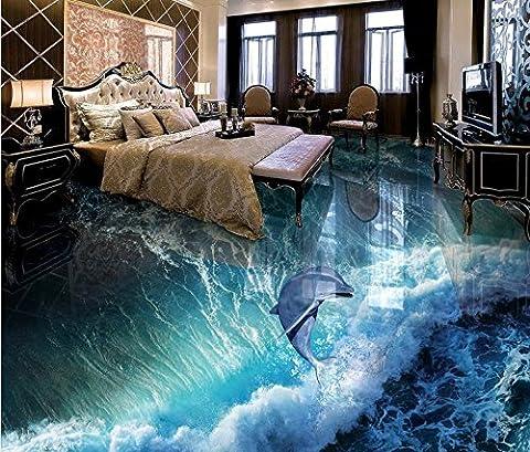 LWCX Benutzerdefinierte europäischen Boden 3D Hintergrundbild Delphin Wellen 3D Stock Wandbilder Tapeten für Kinder Zimmer 308X220CM