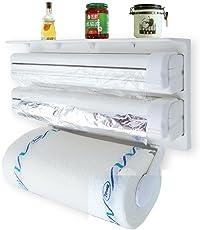 FreshDcart 3 in 1 Kitchen Triple Paper Roll Dispenser Hanger Stand & Holder for Cling Film Wrap Aluminium Foil & Kitchen Roll (White Color)