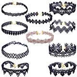 Goodsatar Damen 10 Stück Choker Halskette Set Stretch Samt Klassische Gothic Tattoo Lace Choker (Schwarz)