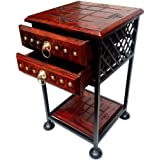 Antique Crown Wooden Iron Double Drawers Bedside Table/Sofa Side Table/end Table/Corner Table for Bedroom and Living Room Dec