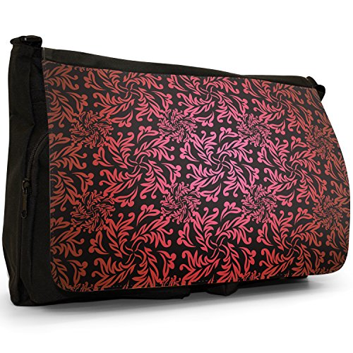 Elegante motivo floreale carta da parati–Borsa Tracolla Tela Nera Grande Scuola/Borsa Per Laptop rosso