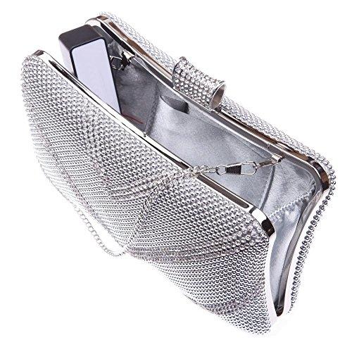 Santimon Donna Pochette Borsa Lusso Diamante Forma Di V Custodia Rigida Borse Da Festa di Nozze Sera Con Tracolla Amovibile argento