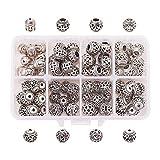 PandaHall 8 Taschen Insgesamt 80 Stücke mit Box (Mix) Gem-Innen Bali Stil Metall Antike Tibetanische Silber Spacer Perlen Schmuck Machen DIY Anschlüsse