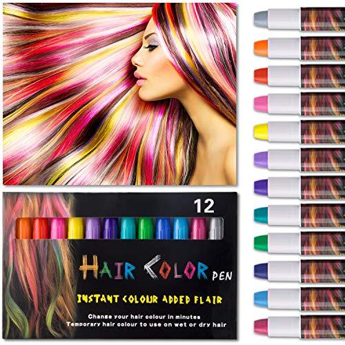 k 12 Farben Auswaschbar Haarkreide 6 Paar Handschuhe für kinder Temporäre Haarfarbe Ideal für Kinder Mädchen, Geschenke Geburtstag Karneval & Weihnachten ()