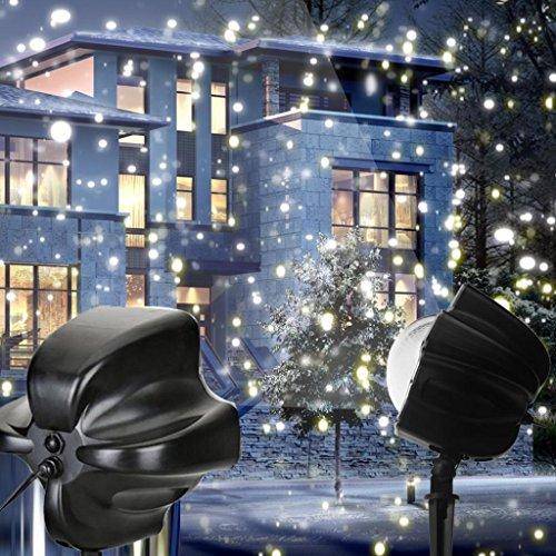 Wokee LED Schneefall Licht rotierenden Nachtlicht Projektor Schnee flirrt Spotlight,Meteorschauer, LED Meteorschauer beleuchtet Regen Schneefall 30ft Dekor beleuchtet wasserdichte feenhafte Lichter für im Freien, im Freien, Garten, Gärten, Häuser, Hochzeit, Weihnachtsfest, Weihnachtsbaum (Lighting Im Freien Spotlight)
