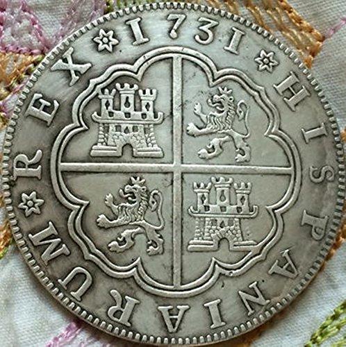 Bespoke Souvenirs Rare Antique European 1731 Spain 8 Reales Silver Color Coin Seltene Münze -