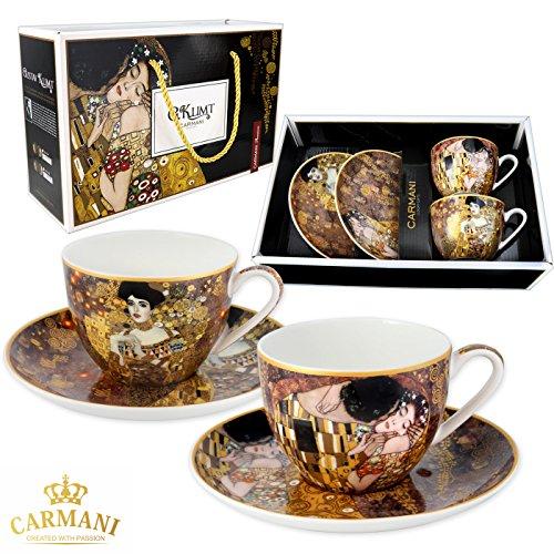 CARMANI - Gustav Klimt 'Der Kuss + Adele' Set von 2 Porzellan-Tasse mit Untertasse 220ml