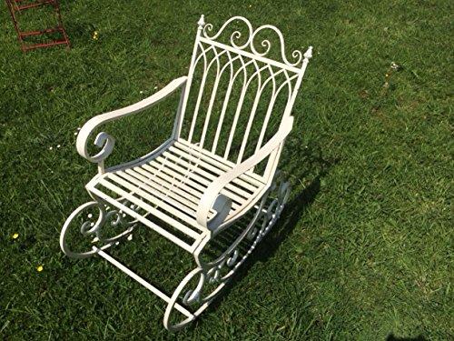 vintage style antique white distressed metal garden rocking chair