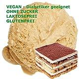 1 Kg Tiramisu Geschmack Eispulver VEGAN - OHNE ZUCKER - LAKTOSEFREI - GLUTENFREI - FETTARM, auch für Diabetiker Milcheis Softeispulver Speiseeispulver Gino Gelati