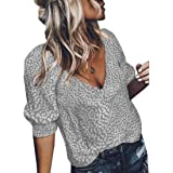 Yisism Women's Loose Floral Print Tops Casual Short Sleeve V-Neck Shirts Blouse