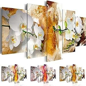 Quadro 200x100 cm - Tre colori da scegliere - 5 Parti - Grande Formato - Quadro su tela fliselina - Stampa in qualita fotografica - Fiori Orchidea b-A-0255-b-p 200x100 cm B&D XXL