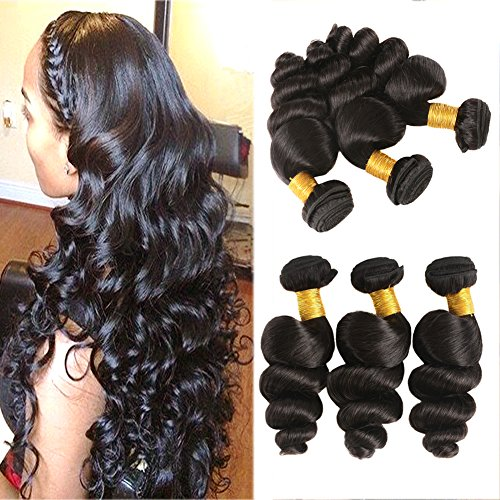 Huarisi 7a Loose Wave Brazilian Hair 3 Bundles 16 18 20 Inches Silky Wet and Wavy Weaves Natural Color for Black Women -