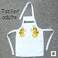 Texti-cadeaux-Tablier cuisine adulte Hippocampe à personnaliser Exemple: Mamie, Maman, Killian