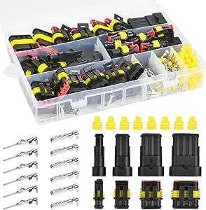 Pokiene 300 Stück Auto Wasserdichte Schnellverbinder Kabelverbinder Kabel Steckverbinder Stecker 1 2 3 4 Pin Auto