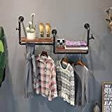 TRRE@ Vintage alte hölzerne Rohr und Garderobe Eisen Kombination Wandbehang Regal Haken Kleiderbügel geeignet für Wohn / Schlafzimmer / Studie / Kleidung Shop schwarz, Silber (120cm) Regale ( Farbe : Schwarz )