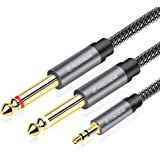 Câble Audio 3.5mm vers Double 6.35mm 2M, POSUGEAR 6.35 Mâle vers 3.5 Mâle Mono Y Splitter Jack Câble d'Instrument Nylon Tress