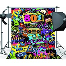 Mehofoto Hip Hop Backdrop 5x7ft Vinyl 80s Theme 1980s Party Decoration Selfie Background Backdrops for Pictures Seamless Lightweight Easy Carry Photo Shoot Props