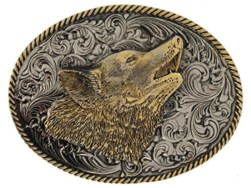 Howling Wolf Gürtelschnalle mit Vergoldung, in einer meiner Präsentationsschachteln. (Gürtelschnalle Wolf)