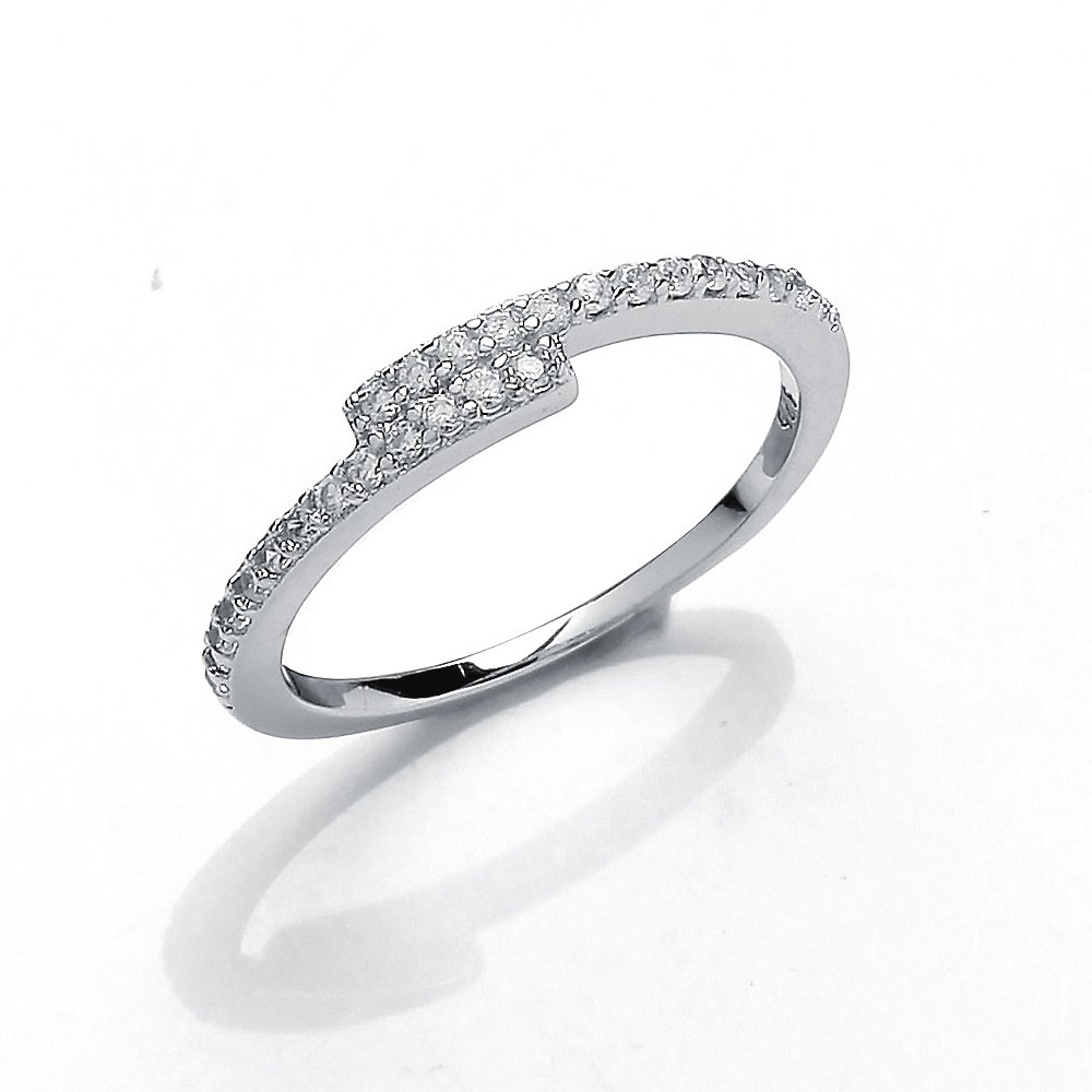 Jewelco London Girls Rhodium Plated Sterling Silver Round Brilliant Cubic Zirconia Off Set Crossover Eternity Ring, Size
