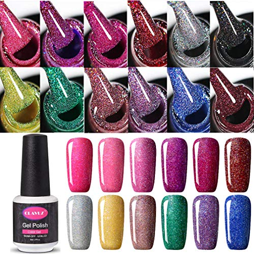 Clavuz Smalto Semipermanente Gel Soak off UV LED Ricostruzione Unghie Arte Set Kit(8ml*12) - Serie Bling Neon
